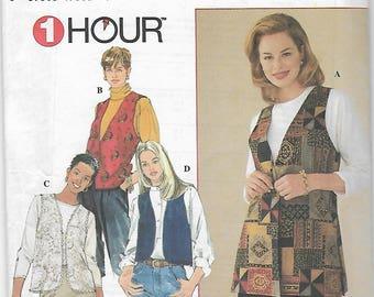 90s Simplicity 1-Hour Vests Sewing Pattern 7320 Miss Size Large XL 18-20-22-24 Uncut
