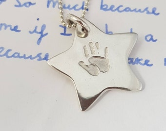 Hand print or Footprint Star Necklace
