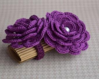 Purple flower napkin rings Crochet napkin holder or scarf slide Set of 2 Thanksgiving table decor