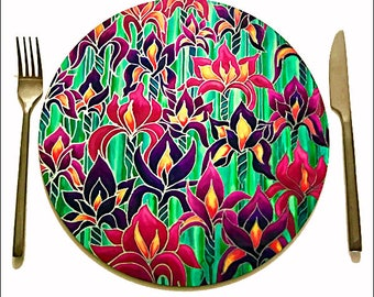 Field of Flowers Round Tablemats - Pink & Plum Iris Flower Tableware - Heatproof Circular Placemats - Green Leaf Place Mats - Hostess Gift