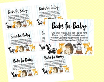 Books for Baby Insert, Gender Reveal Baby Shower Bring a Book Insert, Printable, Baby Shower Party, Bring a Book Woodland Design style