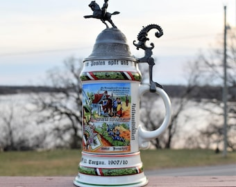 "Vintage Regimental Military "" Reservist Berg""  Beer Stein /Ceramic Mug/Antique Beer Stein /Bar Ware/ Collector's Item"