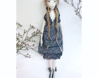 LILY Collectible Handmade Fabric Art Doll OOAK Textile Soft Sculpture