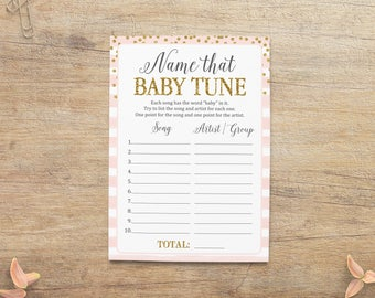 Name That Baby Tune, Name the Baby Song, Girl Baby Shower Game, Song Guessing Game, Pink Gold Sprinkle, Blush Gold GP Printable Download