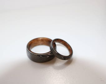 Stainless Steel Damascus Wedding Ring Band With Crushed