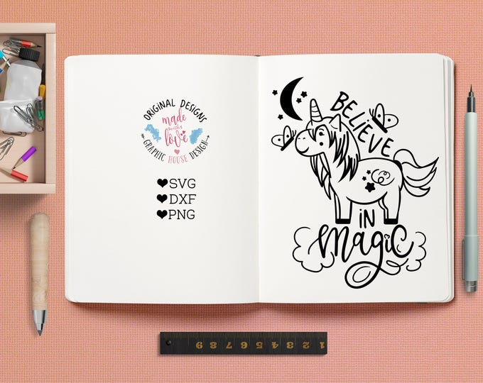 unicorn svg, unicorn cutting file, believe in magic svg, nursery svg, baby cutting file, kid's t-shirt design, unicorn clipart, moon, stars