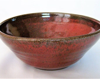 Handmade Ceramic Red Bowl Rustic Bowl Farmhouse Pottery Bowl Red Stoneware Large Cereal Bowl or Vegetable Serving Bowl