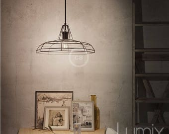 Sonar large steel black metal cage suspension with metal ceiling rose in black color - choice of cable length and color