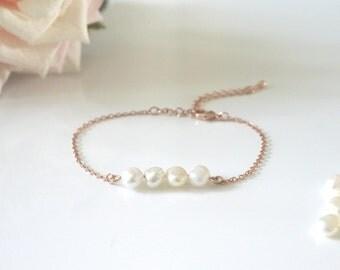 Fresh Water White Pearl Rose Gold Bracelet   Rose Gold   Natural Fresh Water Pearl   Adjustable Bracelet  