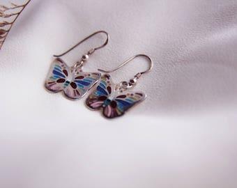 Butterfly Earrings-Handmade Enamel Cloisonne,Fine Silver,Gift