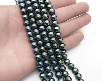 8mm Green Hematite Beads, Round Hematite Beads, Hematite Jewelry