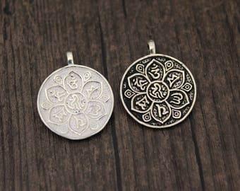 Sterling silver Lotus pendant,lotus flower charm,Tibetan Om Mantra Lotus charm,Buddhism  OM charm, om pendant, yoga charm, yoga jewelry