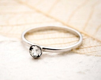 Swarovski Crystal solitaire ring, Swarovski Ring, Sterling Silver Ring, Engagement Ring