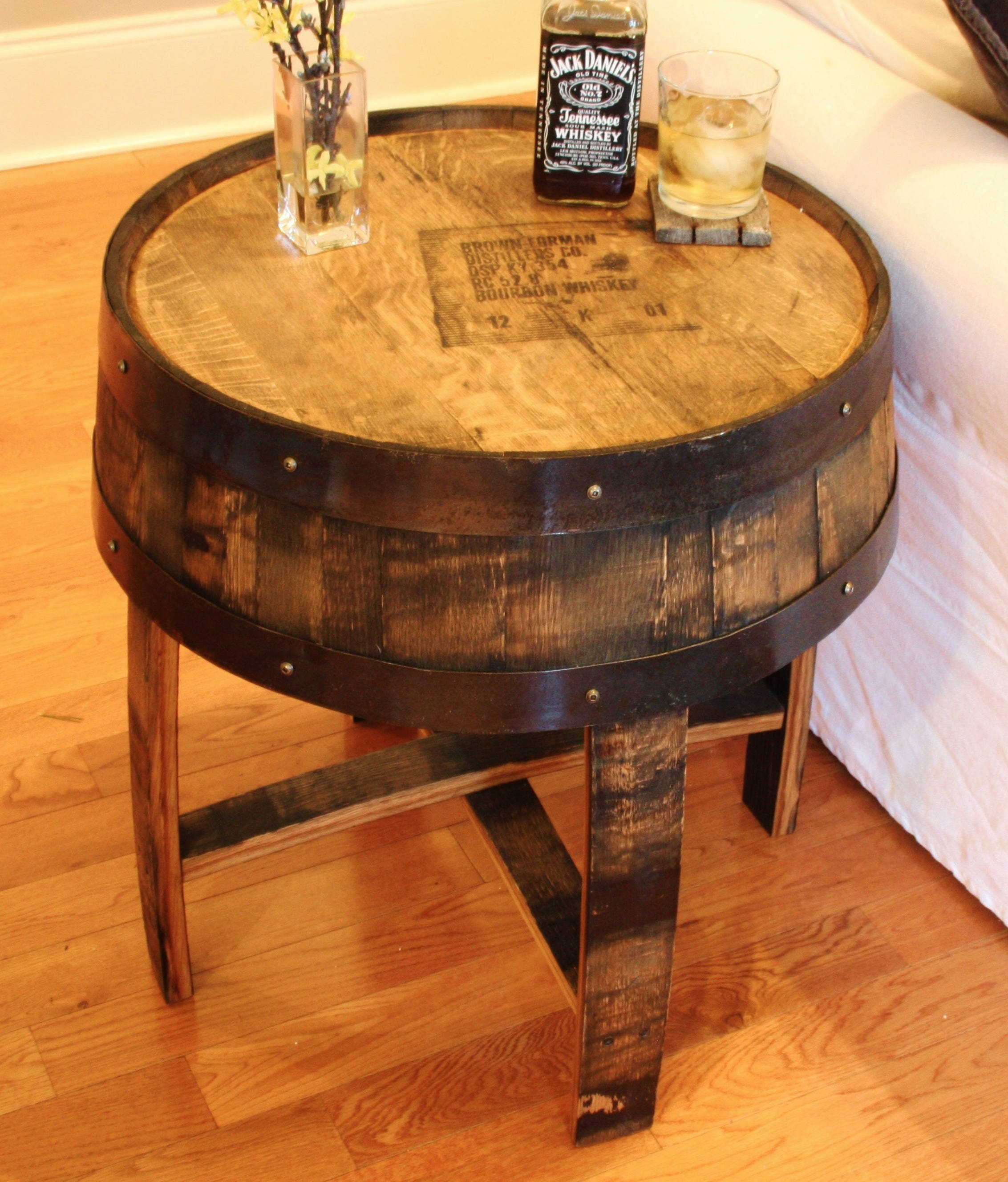 handcrafted oak bourbon whiskey barrel end table with distiller s