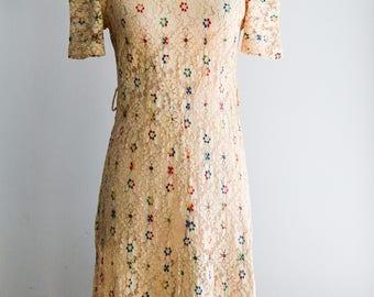"""Vintage 1930s Lace Party Dress/Waist 30"""""""