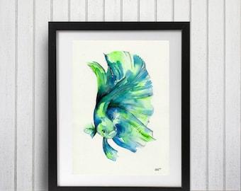 Fish Art Print - Betta in Green A3
