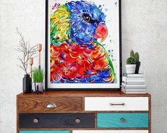 Rainbow Lorikeet Art Print, Parrot art, Tropical bird art, Australian birds,  Lorikeet wall art, Tropical decor