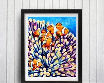 Clown fish art print, Nemo art, Clown fish decor, Coral reef wall art, Tropical fish art, Clown fish painting, Ocean art, Ocean decor