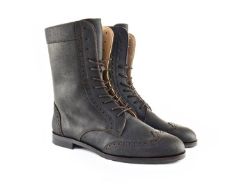 Combat Boots Men in Brown Rugged Calf Leather. Handmade Shoes