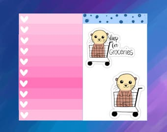Otterly Adorable Grocery Shopping Otter Planner Stickers (O05)