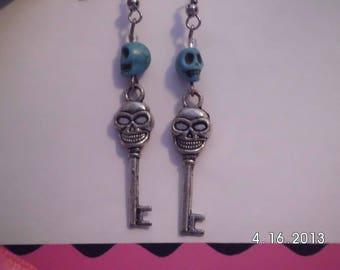 Turquoise skull key earrings.