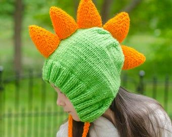 Knit Dinosaur Hat - Kids Dino Hat - Adult Dino Hat - Custom Dinosaur Beanie - Dinosaur Dress Up - Dinosaur Lovers Gift - Knitted Dino Hat