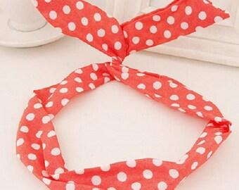 Cute Poka-dot Red and White  Bunny Wire Headband / Hair Tie