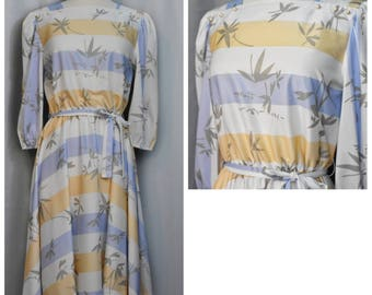 Peach/Periwinkle Striped Bamboo Pattern Dress
