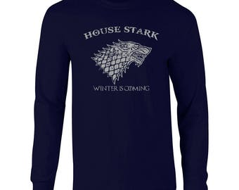 House Stark funny fantasy dire wolf game king thrones winter college party vintage retro - Apparel Clothing - Long Sleeve shirt - 85