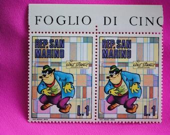 "San Marino  1970    ""Black Pete""    Walt Disney Production   Postage Stamps     Vintage"