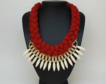 Red beige knitted bib statement necklace, Anthropologie necklace, Fashion jewelry, Unique necklace, gift idea, Celebrity necklace,Jewellry
