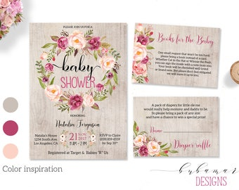 Pink Peonies Floral Baby Shower Invitation Flower Wreath Baby Shower Invite Printable Baby Birth Invitation Light Wood Background - CS014