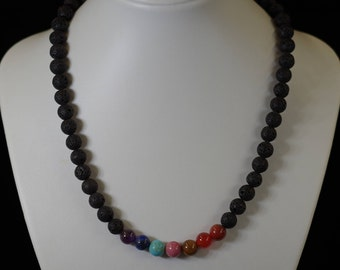 Necklace wellness 7 chakras, lava stones and gemstones for karma cleansing and realigning beads 8 mm