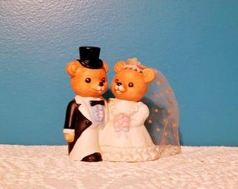 Vintage Homco bears bride and groom figurine cake topper centrpiece, Homco 1424 wedding decoration