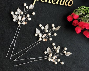 Silver leaves Wedding hair pins,hair vine,pins, Bridal hair pins, Bridal headpiece, Bridal hairpiece , Wedding hair 1