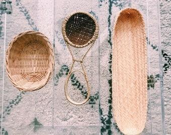 Trio of Small Vintage Woven Rattan Baskets + Spoon / Set of Three (3) Boho Wall Decor