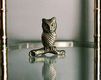 Vintage Solid Brass Owl On Branch Decor / Small Brass Owl Paperweight