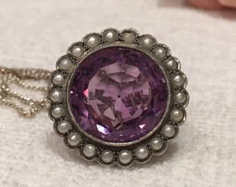 """Absolutely Stunning VINTAGE Sterling Silver Pendant-Brooch/Pin-Beautiful Large AMETHYST-Surrounded by Seed PEARLS-59cm or 23"""" S/Silver Chain"""