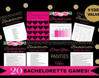 20 Bachelorette Party Games Bundle - Bachelorette Scavenger Hunt - Porn or Polish - Drink If - Printable Bachelorette Games  - Hens Night