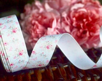 Pink rose grosgrain, Shabby chic ribbon, Floral ribbon, Ribbon, Grosgrain ribbon, White ribbon, Rose print ribbon, Gift wrapping, Hair craft