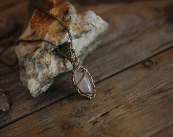 Raw Rose Quartz pendant // Copper Crystal Necklace // Blush Pink Crystal Necklace// Rose Quartz Necklace // crystal necklaces for women