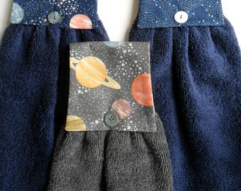 Hanging Hand Towel, Handmade, Navy Blue, Grey with Planets, Moons & Stars.