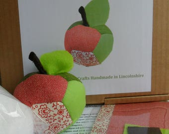 Patchwork Apple, Hand Sewing Kits, Red & Green