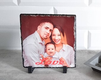 Block slate personalized with your photo 20/20 cm square