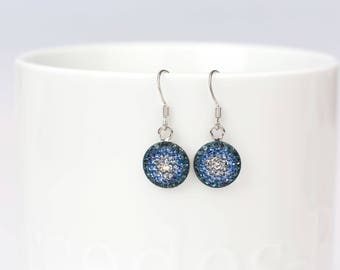 Round Dangle Earrings, Swarovsky Crystal, Gradational Pattern, Blue Color, Sterling Silver Ear Wire, Korean Unique Style