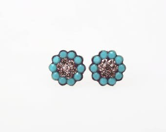 Sterling Silver Pave Radiance Stud Earrings, Swarovsky Crystals, 7mm Flower, Turquoise and Light Amethyst Color, Unique Korean Style