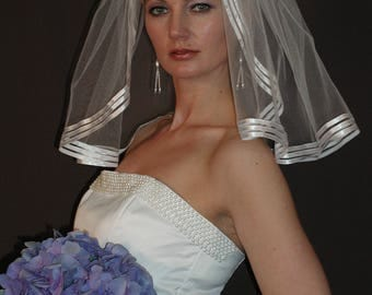 "18"" Single Tier Wedding Veil - flyaway bridal veil with 3 rows of 1/8"" satin ribbon edge"