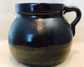 Vintage Black Stoneware Bean Pot