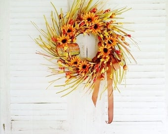 LG Sunflower Wreath, Wreaths for Fall, Front Door Wreaths, Autumn Wreaths, Thanksgiving Wreaths, Front Porch Decor, Welcome Wreaths     W329
