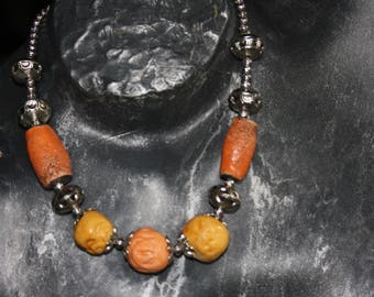 Necklace earth beads and metal beads